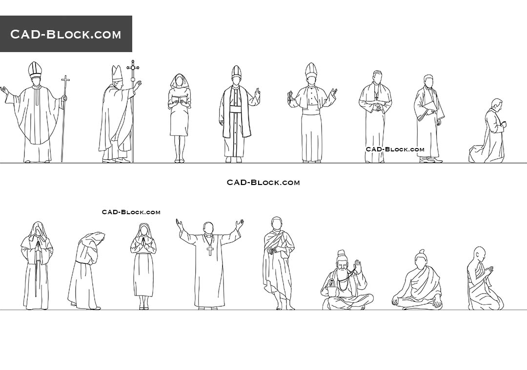 Religious People - CAD Blocks, AutoCAD file
