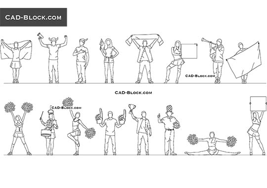 People Fans - download free CAD Block