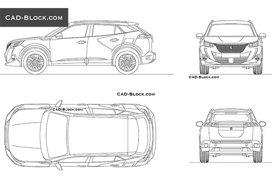 Peugeot E-2008 - download free CAD Block