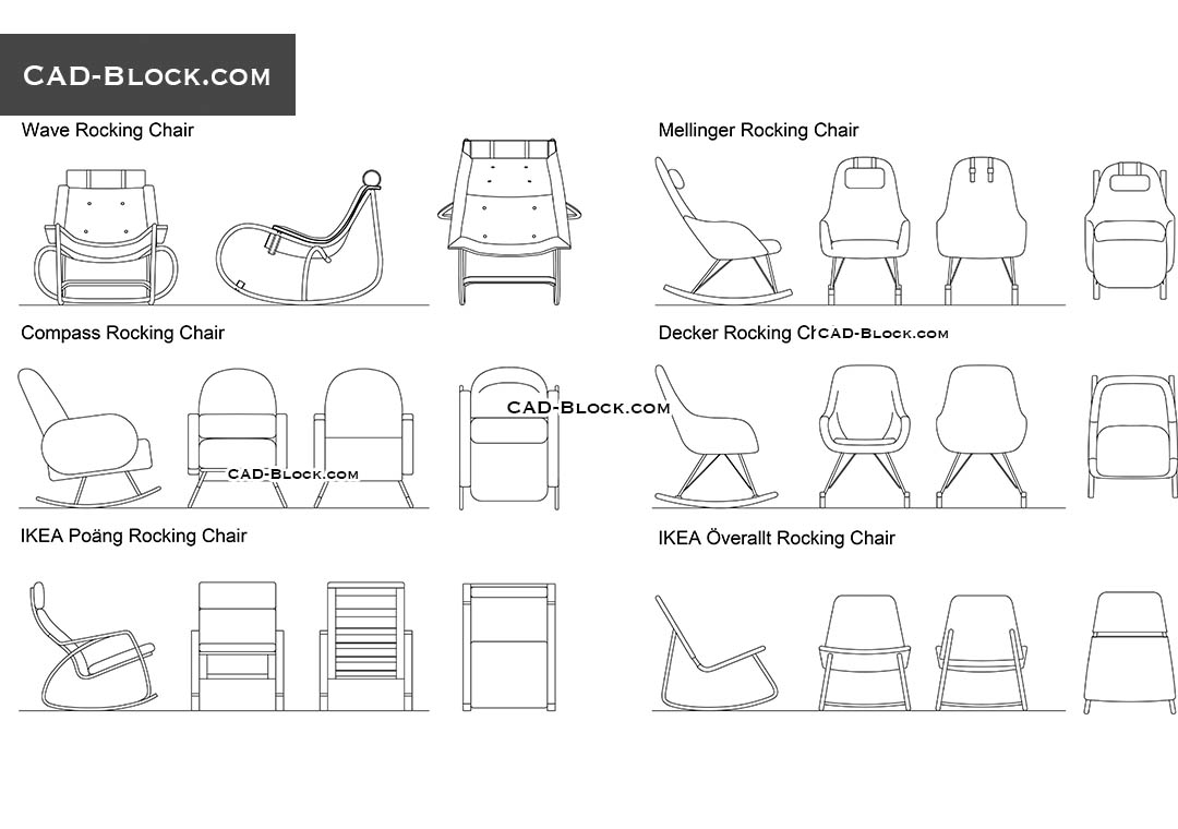 Rocking Chairs - CAD Blocks, AutoCAD file