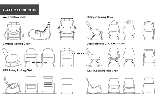 Rocking Chairs - download free CAD Block