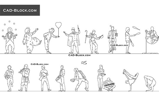 Street Performers - download free CAD Block
