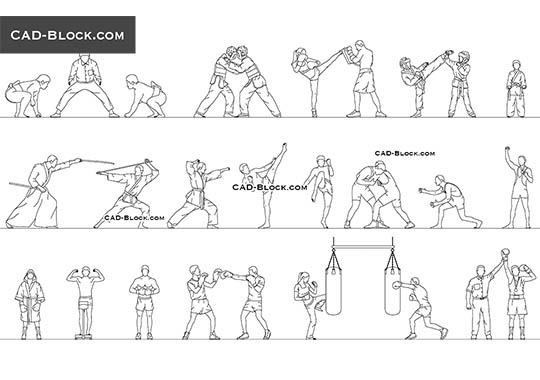Martial Arts - download free CAD Block
