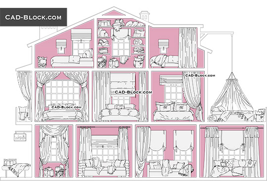 Interior Textile Set - download free CAD Block