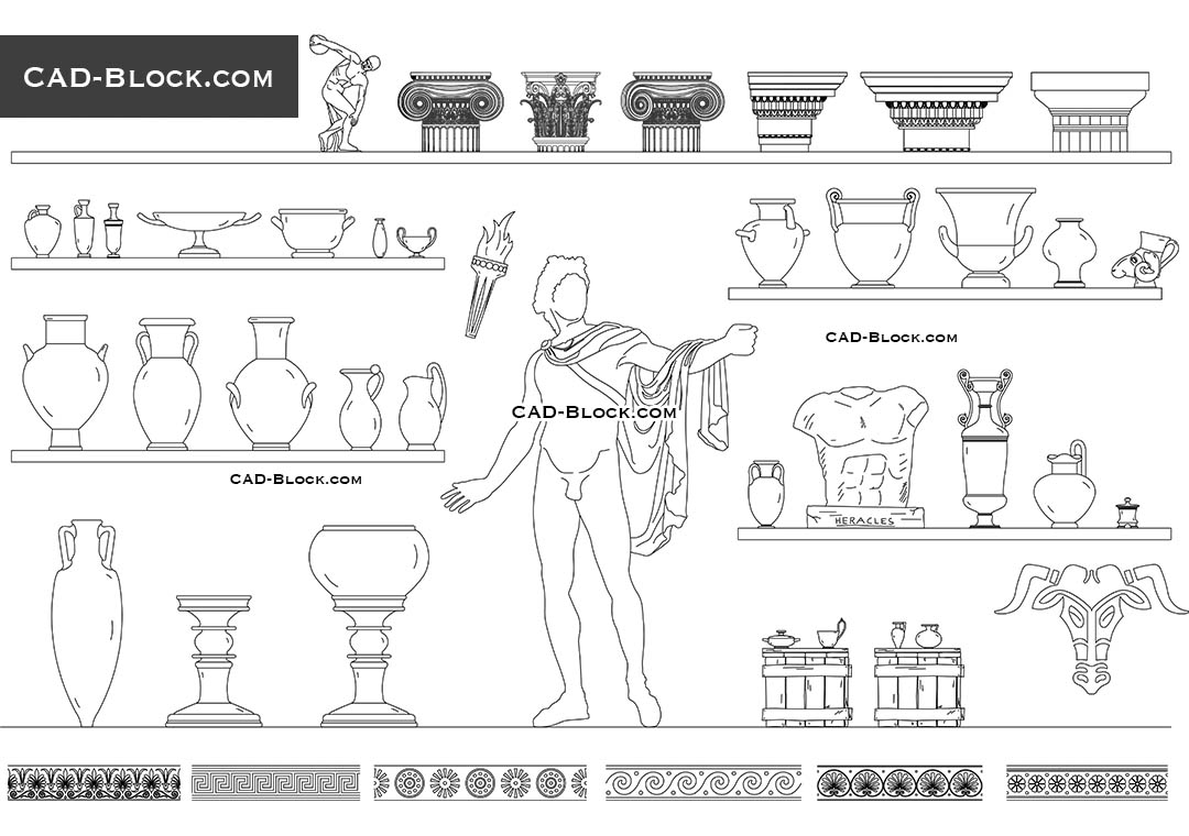 Ancient Greek Elements - CAD Blocks, AutoCAD file