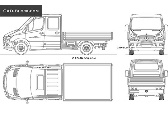 Mercedes-Benz Sprinter Pick-Up - download free CAD Block