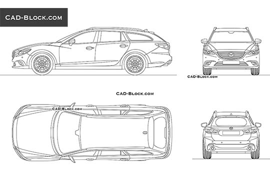 Mazda 6 Wagon - download free CAD Block