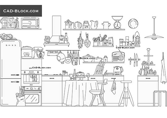 Kitchen Set - download free CAD Block