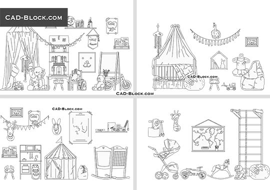 Kids Room Decor buy AutoCAD Blocks