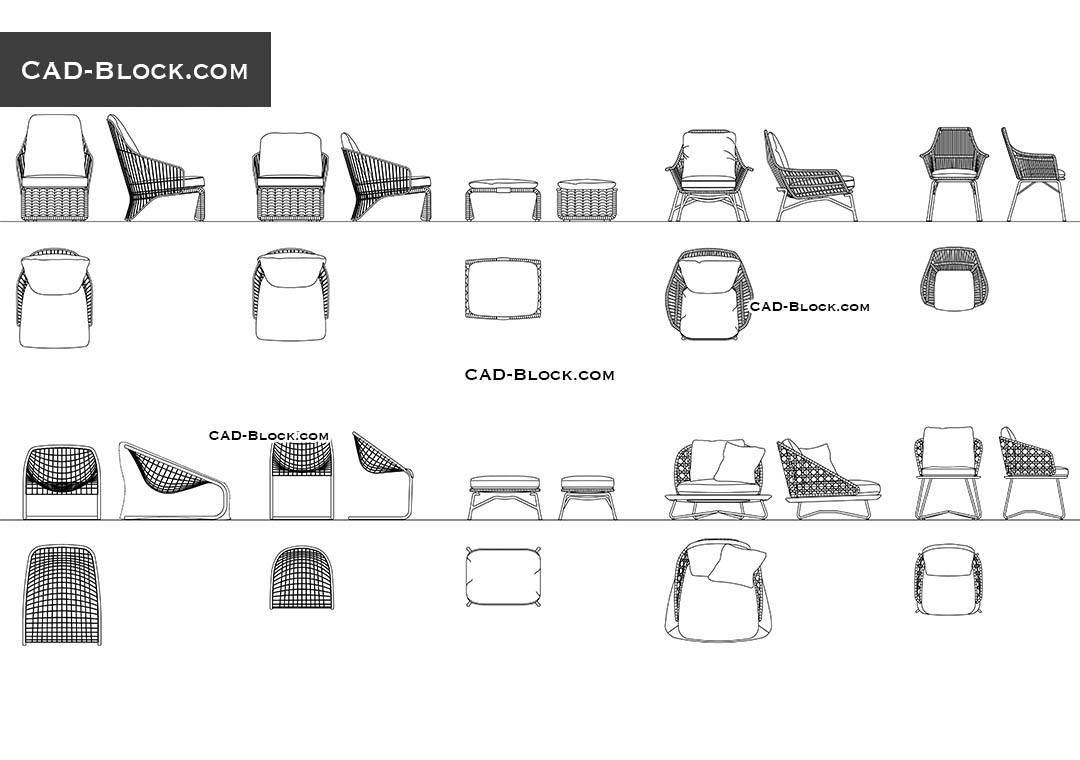 Outdoor Chairs & Ottomans - CAD Blocks, AutoCAD file