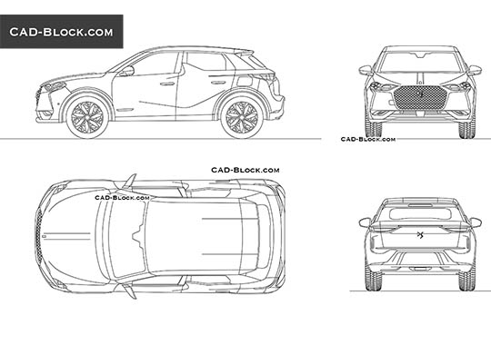 DS3 Crossback E-Tense - download free CAD Block