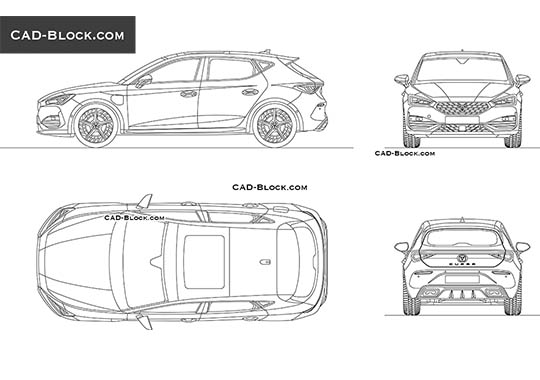 SEAT Leon Cupra - download free CAD Block