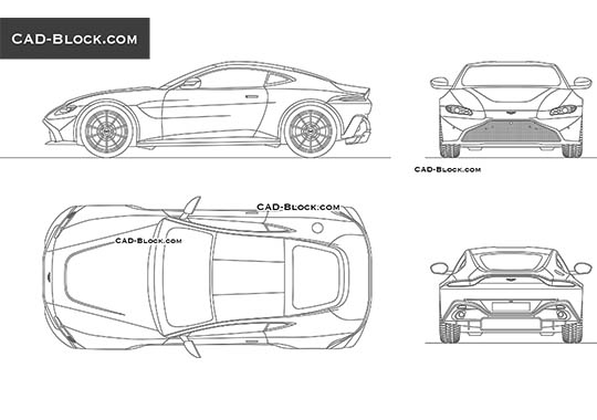 Aston Martin Vantage - download free CAD Block