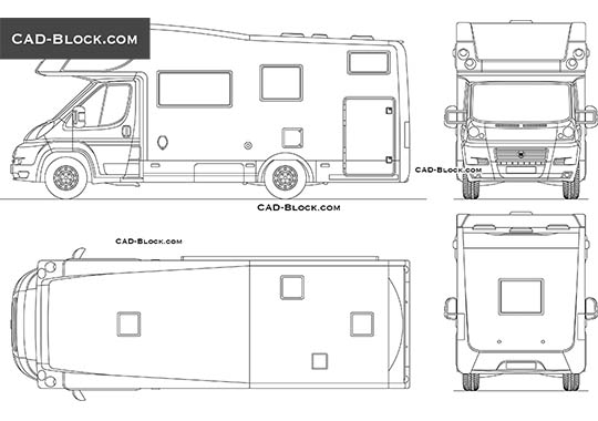 Camper Fiat Ducato - download free CAD Block