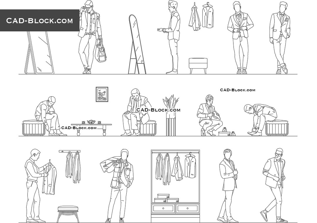 Men's Fitting Room - CAD Blocks, AutoCAD file