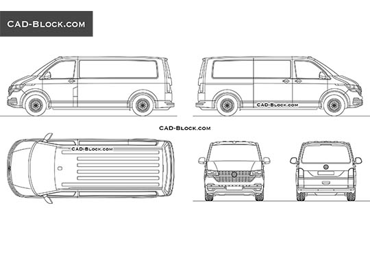 Volkswagen Transporter T6 - download free CAD Block