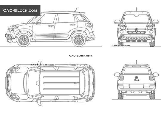 Fiat 500L Cross buy AutoCAD Blocks