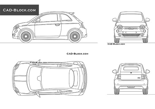 Fiat 500 La Prima buy AutoCAD Blocks
