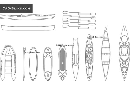 Boats & Surfboards - free CAD file