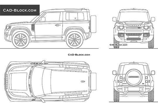 Land Rover Defender 90 buy AutoCAD Blocks