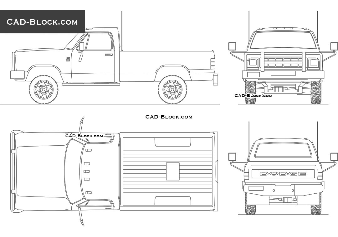 Dodge RAM D-250 (1989) - CAD Blocks, AutoCAD file