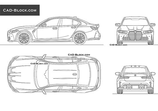 BMW M3 Competition (2021) - download free CAD Block