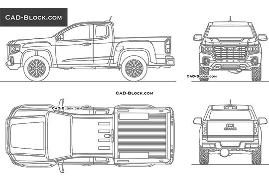 GMC Canyon Extended Cab - download free CAD Block