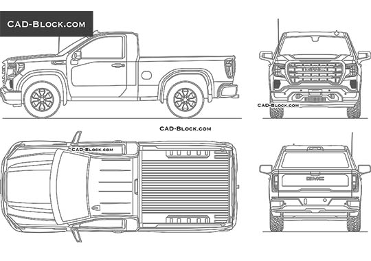 GMC Sierra Regular SLE 1500 - download free CAD Block