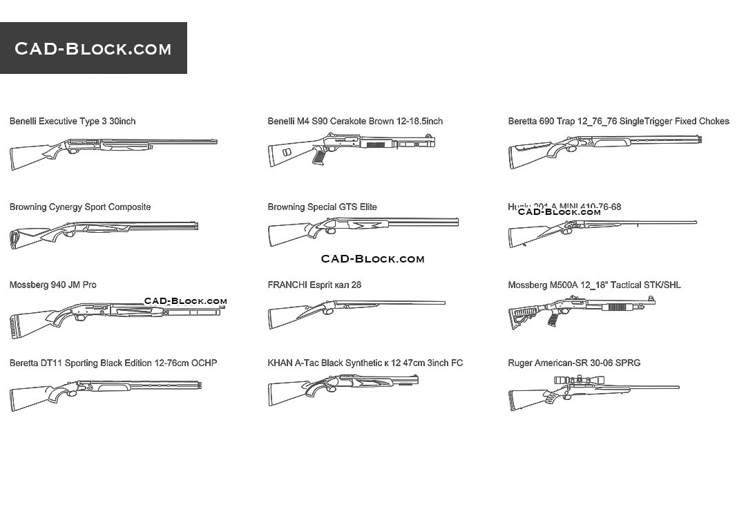 Hunting Rifles - CAD Blocks, AutoCAD file