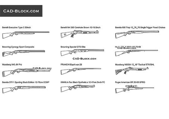 Hunting Rifles buy AutoCAD Blocks