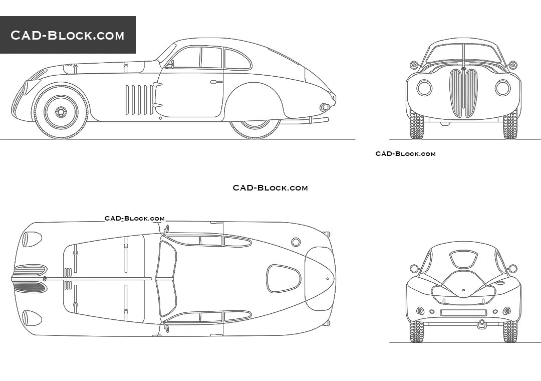 BMW 328 MM Touring Berlinetta (1939) - CAD Blocks, AutoCAD file