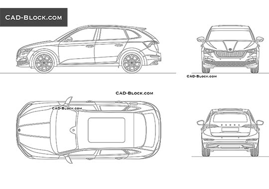Skoda Scala - download free CAD Block