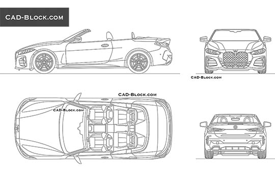 BMW M4 Convertible - download free CAD Block