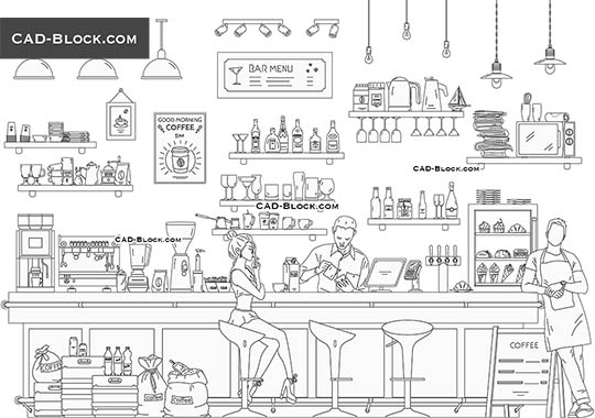Coffee & Bar - download free CAD Block